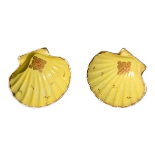 Limoges Hand Painted Gilt Yellow Scallop Shell Dishes - a Pair For Sale