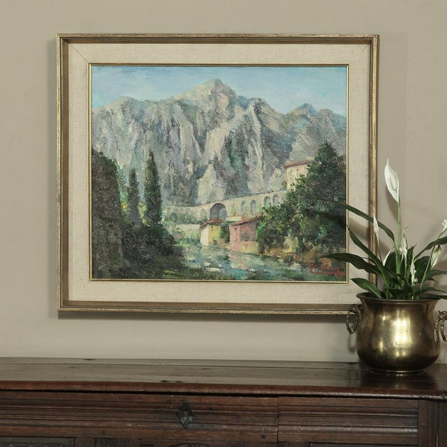 Italian Mid- Century Original Painting on Canvas by Tilleux of Italian Alps For Sale - Image 3 of 12