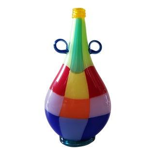 Harry Stuart RPM Studios Hand Blown Art Glass Patchwork Motif Decorative Vase/ Bottle For Sale