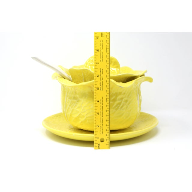 Vintage Secla Yellow Cabbage Soup Tureen With Lid, Ladle and Underplate - Set of 4 For Sale - Image 12 of 13