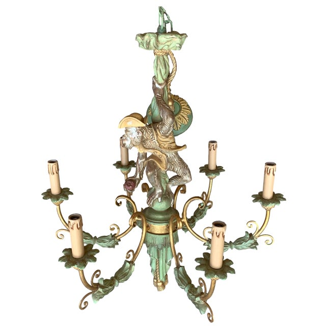 Vintage Monkey Carved Wood Chandelier For Sale - Image 13 of 13