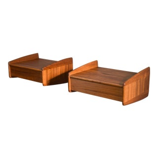 Superb Danish Teak Floating Wall-Hung Shelves or Night Stands - 2 Available For Sale