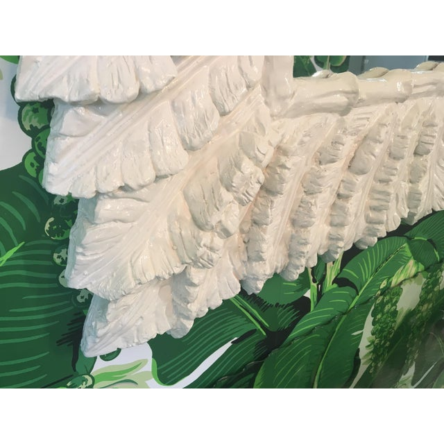 White Sculptural Palm Leaf Console Table and Mirror After Serge Roche & Dorothy Draper For Sale - Image 8 of 9