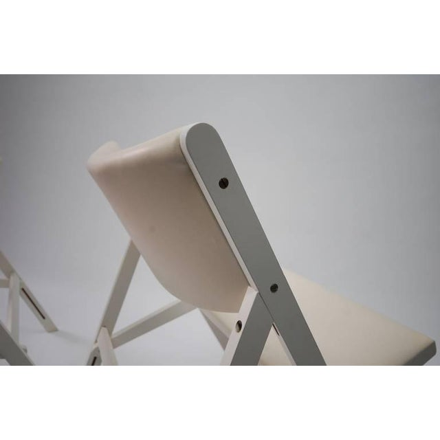 """Pair of """"chair of little seat"""" chairs in white lacquer designed by Gio Ponti, and produced by Walter Ponti, circa 1968...."""