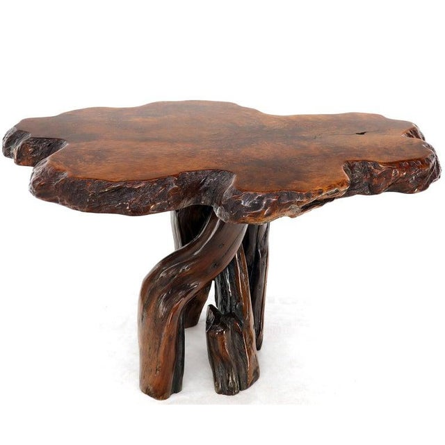 Burl Wood Natural Free Edge Slab Top Gueridon Center Table For Sale - Image 9 of 12