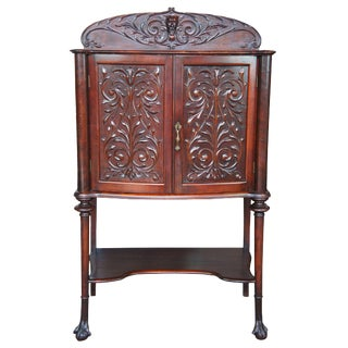 19th Century Victorian Carved Mahogany Music Cabinet For Sale