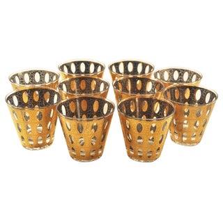 Vintage *Signed* Culver Pisa Gold Crackle Lg Rocks Cocktail Barware Glasses Set of 8 For Sale