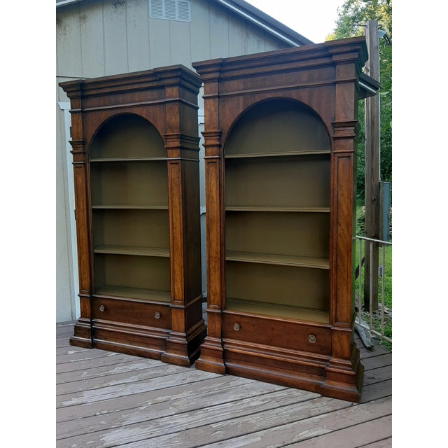 Vintage Drexel 1968 Et Cetera French Style Aged Walnut Solid Wood Bookcases - a Pair For Sale - Image 13 of 13