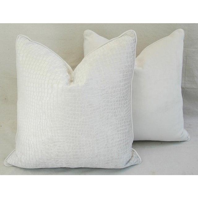 Boho Chic White Crocodile Velvet Pillows - a Pair - Image 10 of 11