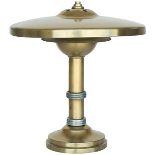 Brass Machine Age Deco Desk Lamp For Sale