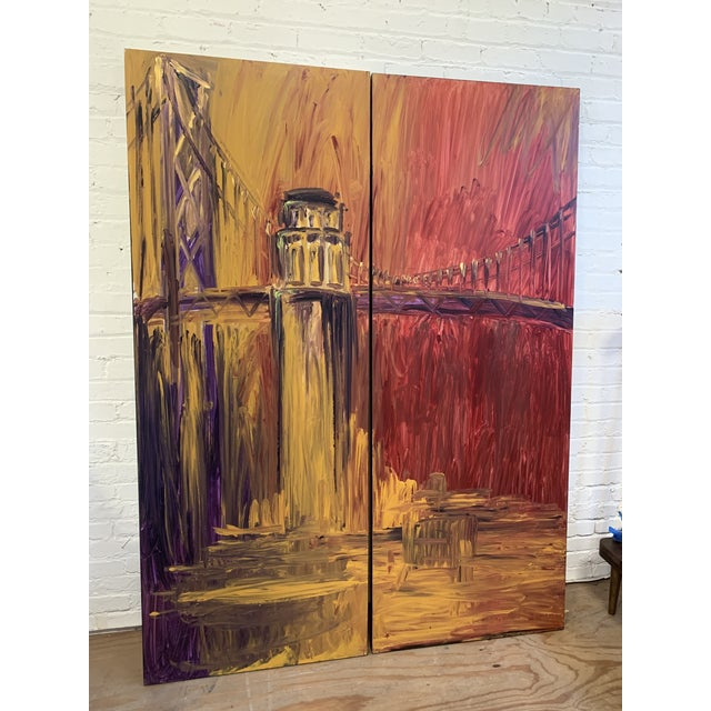 Impressionist Warren Knapp Original Oil Painting Diptych of San Francisco's Coit Tower + Bay Bridge For Sale - Image 3 of 10