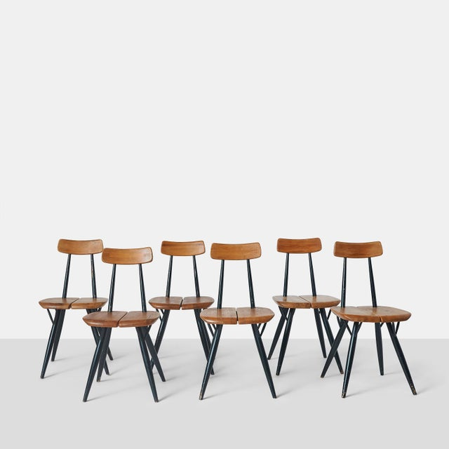 """Pirkka"" Sculptural Pine and Black Lacquer Chairs by Ilmari Tapiovaara - Set of 6 For Sale - Image 11 of 11"