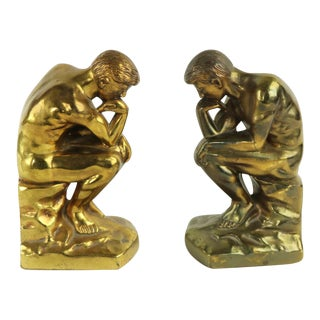 Vintage Thinker Bookends - a Pair For Sale