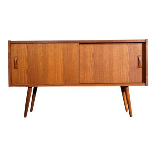 "Danish Mid Century Small Teak Low Cabinet - ""Musholm"" For Sale"