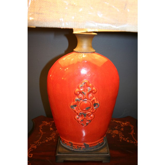 Large Tuscan Red Table Lamp - Image 7 of 10