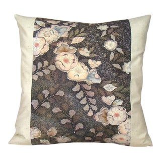 Mauve & Plum Floral Japanese Silk Kimono Pillow Cover For Sale