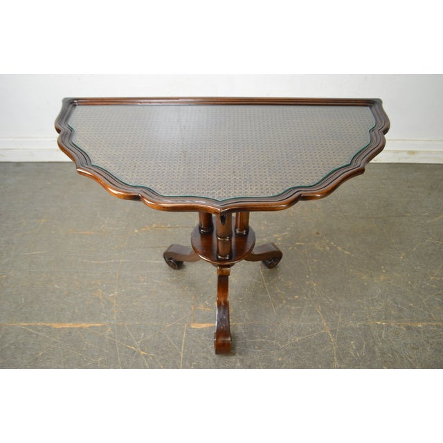 William IV/Regency Solid Mahogany Scalloped Top Demilune Pedestal Side Table For Sale - Image 9 of 13