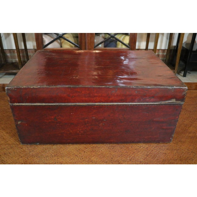 Asian Chinese Leather Trunk For Sale - Image 3 of 8