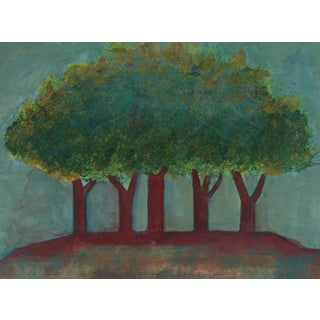 Dave Fox Red Trees in a Landscape Acrylic Painting, 2008 For Sale