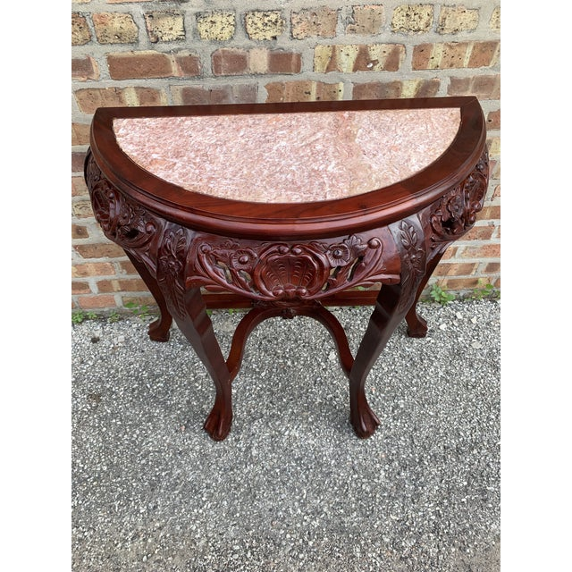 20th Century Traditional Marble Top and Carved Mahogany Demilune Table For Sale - Image 13 of 13