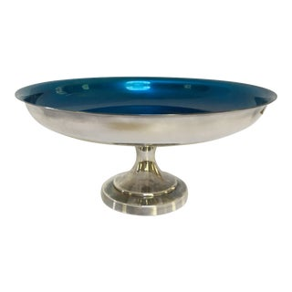 Mid-Century Oneida Silversmiths Blue Enameled Candy Dish For Sale