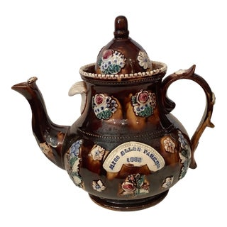 Late 19th Century Antique English Inscribed Bargeware Glazed Teapot For Sale