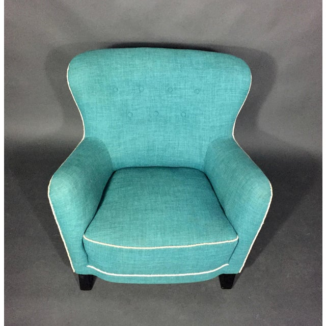 Late 1930s Danish Buttoned Armchair With Turquoise Upholstery For Sale - Image 9 of 10