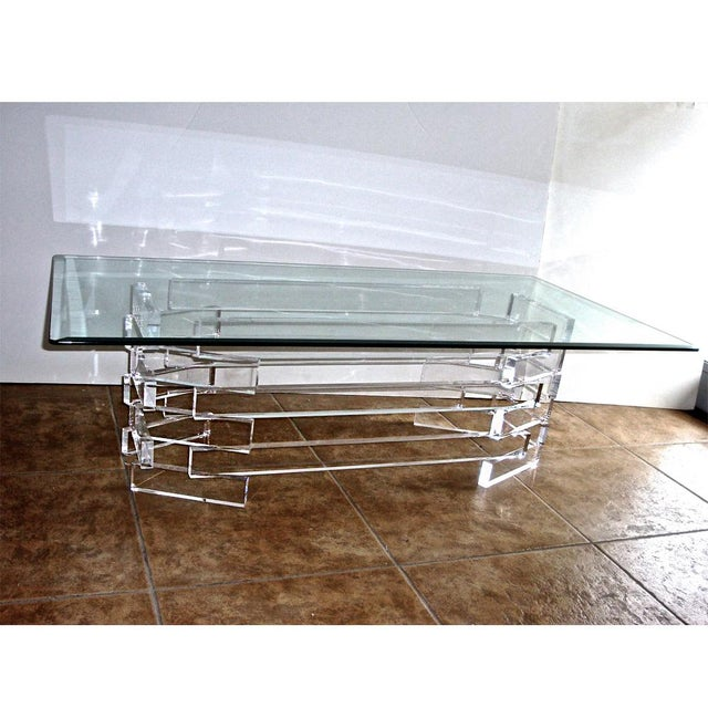 Vintage Modern Acrylic Lucite Base Coffee Table - Image 3 of 5