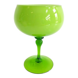 Mid Century Lime Green Glass Bowl on Pedestal