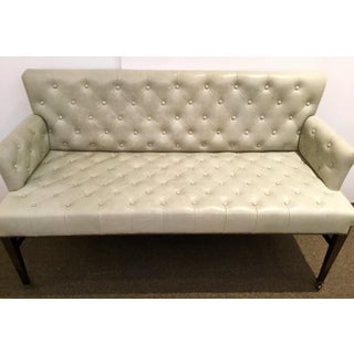 Global View Transitional Gray Tufted Leather Loveseat Preview