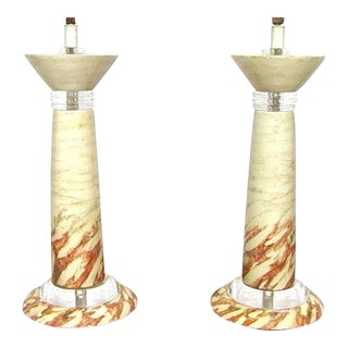 Set of 2 Lacquered Lucite Table Lamps in the Style of Karl Springer