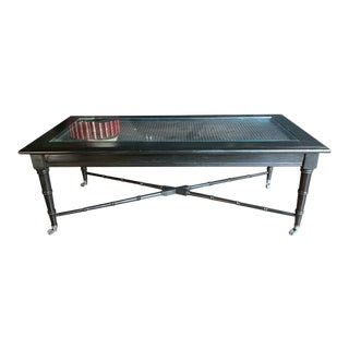 Ebonized Faux Bamboo Coffee Table For Sale