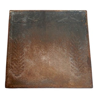 Medium Antique French Cast Iron Fern Relief Fireback For Sale