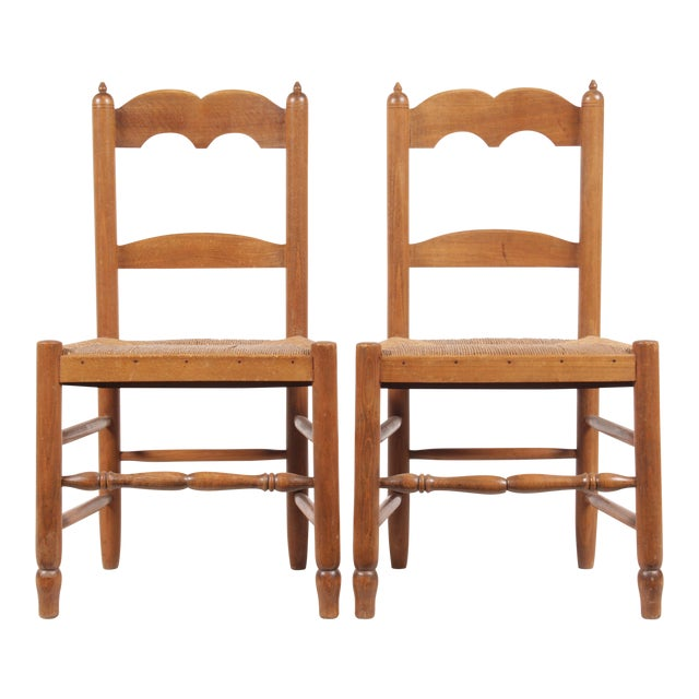 Petite French Rush Chairs - A Pair For Sale