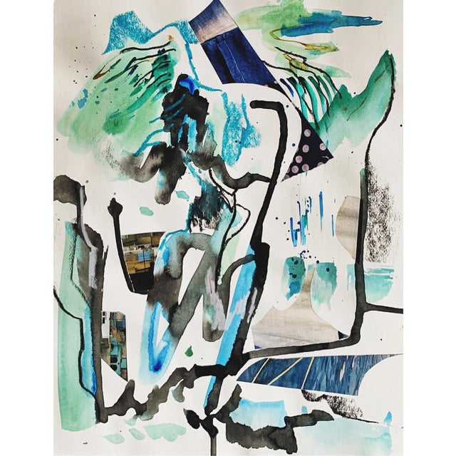 Teal Contemporary Abstract Painting on Paper by K'era Morgan For Sale
