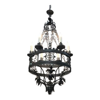 Antique Italian Wrought Iron Chandelier For Sale