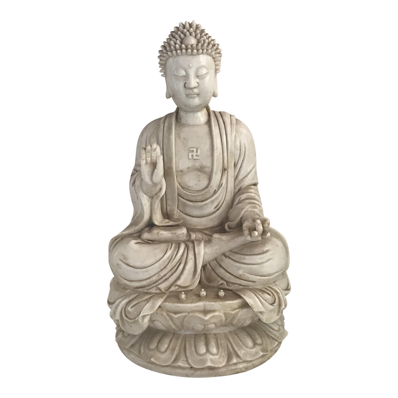 Blanc de chine buddha meditating on lotus flower chairish izmirmasajfo