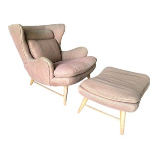 Mid-Century Wingback Lounge Chair with Ottoman For Sale