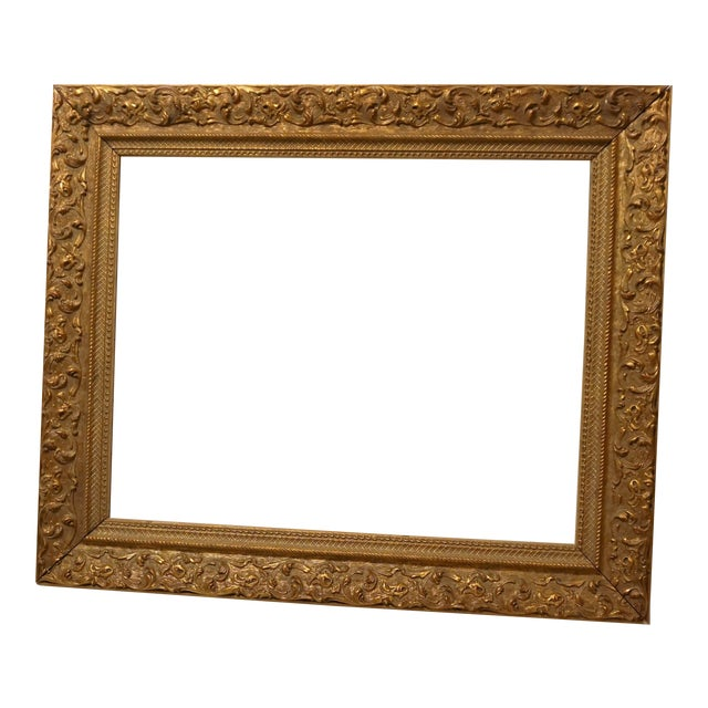 Ornate Distressed Gold Colored Frame | Chairish