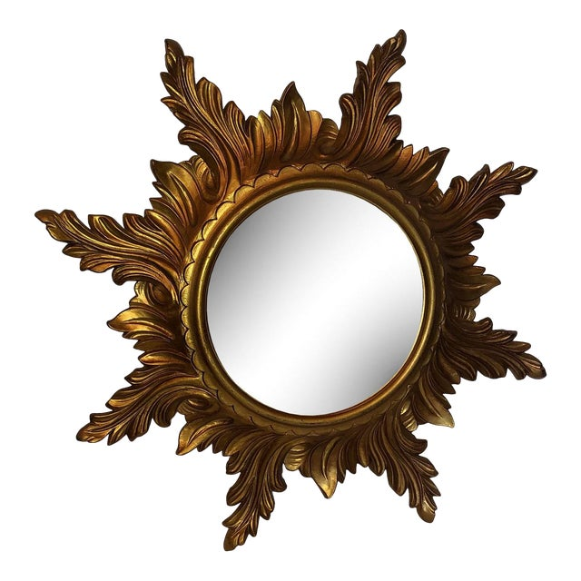 Mid Century Gold Italian Sunburst Mirror For Sale