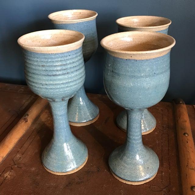 Art Pottery Turquoise Stoneware Goblets- Set of 4 - Image 2 of 7