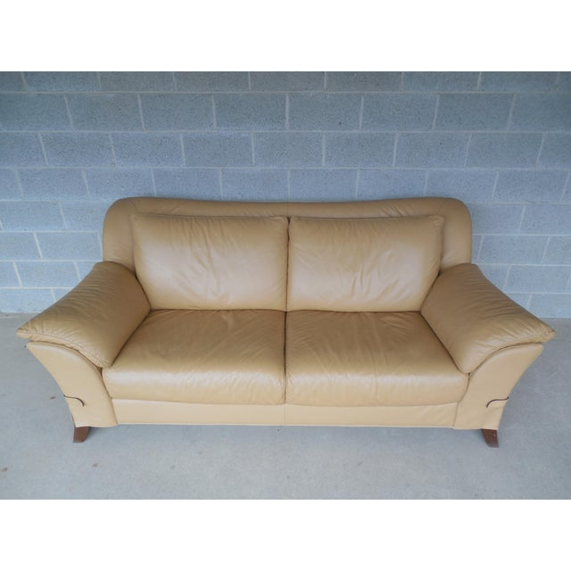 "NATUZZI Italian Leather Sofa 86""W - Image 8 of 9"