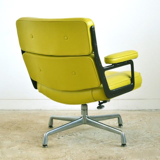 Metal Eames Time-Life Chair with Green Leather by Herman Miller For Sale - Image 7 of 10