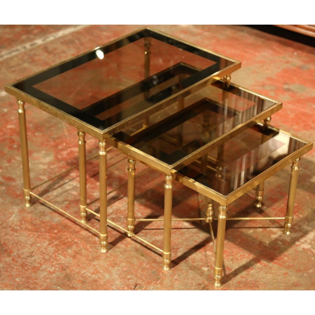 French Set of Early 20th Century, French Brass Nesting Tables Gigognes For Sale - Image 3 of 9