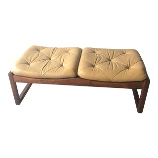 Vintage Mid Century Modern Leather and Teak Bench For Sale