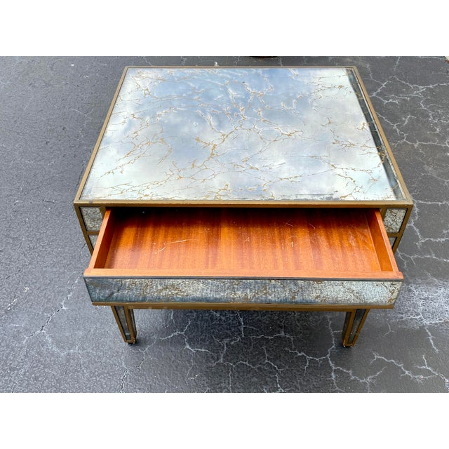 Hollywood Regency Hollywood Regency Mirrored End Table For Sale - Image 3 of 10