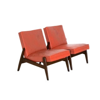 Mid Century Modern Wood Framed Lounge Chairs-A Pair For Sale