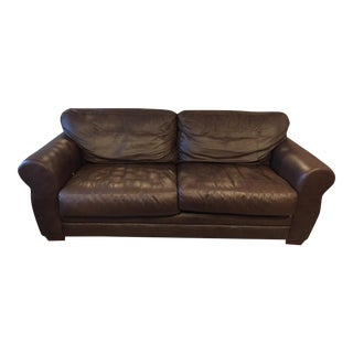 1990's Saproito Style Leather Sleeper Sofa
