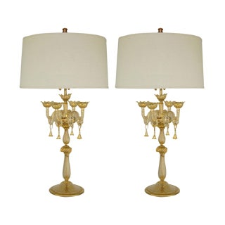 Marbro Murano Candelabra Glass Table Lamps Gold For Sale