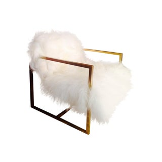 Mid-Century Style Sheepskin Floating Chair For Sale